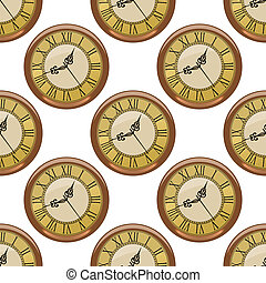Seamless pattern of vintage clocks - Seamless pattern of...
