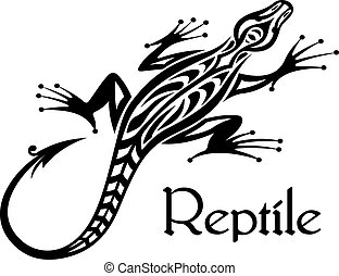 Black lizard silhouette in tribal style for tattoo or mascot...