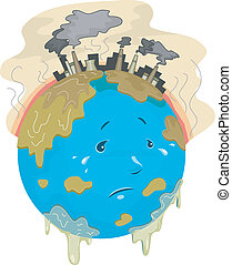 Global Warming - Illustration Featuring a Sad Globe with...