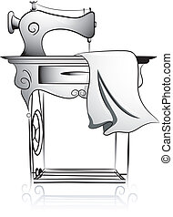 Sewing Machine Icon - Icon Illustration Featuring a Treadle...