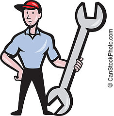 Mechanic Hold Spanner Wrench Cartoon
