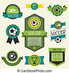 Sports ribbons, labels and badges with soccer (football)...