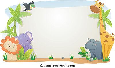 Safari Animal Banner - Banner Illustration Featuring Cute...