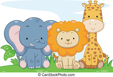 Baby Safari Animals - Illustration Featuring Cute Baby...