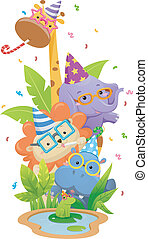 Safari Animals Birthday Party - Illustration Featuring...