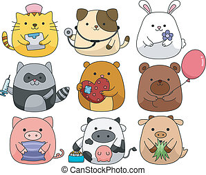 Cute Animal Set - Illustration of a Set of Cute and Cuddly...