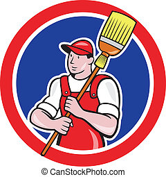 Janitor Cleaner Holding Broom Circle Cartoon - Illustration...