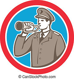 Soldier Blowing Bugle Circle Retro - Illustration of a...