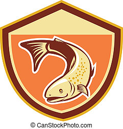Trout Swimming Down Shield Retro - Illustration of a trout...