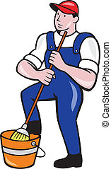 Janitor Cleaner Holding Mop Bucket Cartoon - Illustration of...
