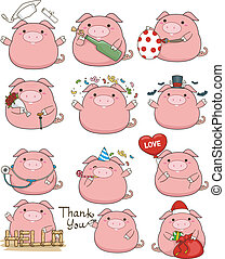 Cute Pig Set - Illustration Featuring a Cute Set of Pigs