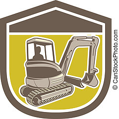 Mechanical Digger Excavator Shield Retro