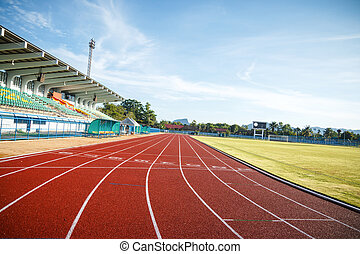 Running track in the morning. - Running track for athletics...