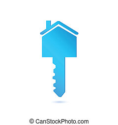 House Key - Illustration of a house key isolated on a white...