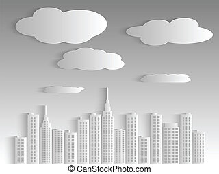 Paper City - Illustration of a city skyline and clouds with...