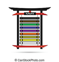 Karate Belt Rack - Illustration of a karate belt rack with...