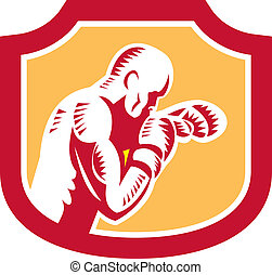Boxer Boxing Jabbing Punch Side Shield Retro - Illustration...