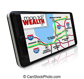Map to Wealth navigation on GPS global positioning system on...