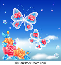 Roses and butterfly