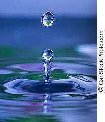 Water droplet splash - Splash and droplet rising from...