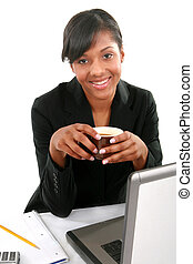 Cheerful Young African American Businesswoman in Office