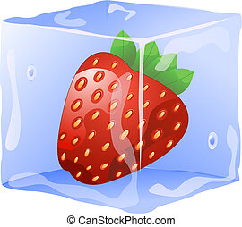 strawberry in ice cube isolated on white background