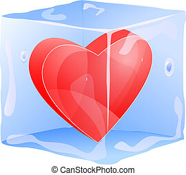 red heart frozen in ice cube isolated on white background