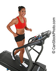 Healthy Young Female Workout on Treadmill