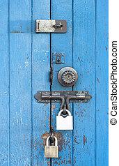 Blue wooden door.