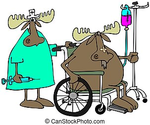 Moose patient & nurse - This illustration depicts a moose in...