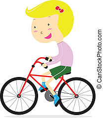 Cute happy girl riding bicycle