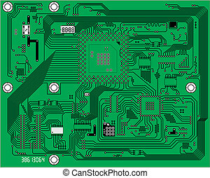 Tech industrial electronic vector background - Hi-tech green...