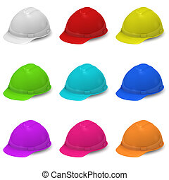 Collection of multi-colored helmets. The isolated background
