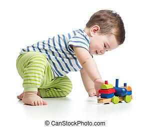 嬰孩, 男孩, 玩, 塊, 玩具