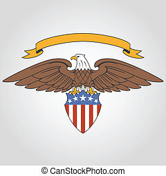 American eagle holding national flag shield and ribbon
