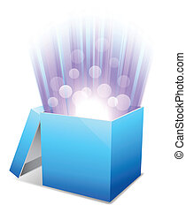 Glowing box. - Opened blue box with bright glow.