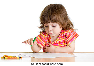 kid girl drawing with color crayons
