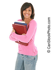 Happy Female College Student Holding Notebooks Isolated -...