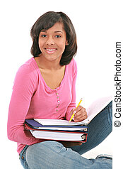 Young Female Student studing School Work - Smiling Young...