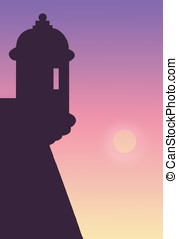 el morro - illustration, sunset and silhouette of a guerite...