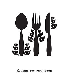 Healthy food - Black healthy food icon with cutlery and...