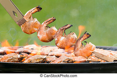 Grilled prawns on fire - Delicious grilled prawns on burning...