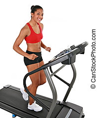 Healthy Happy Young Female Workout on Treadmill - Healthy...