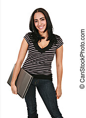 Casual Dressed Hispanic Female Student Holding Laptop...