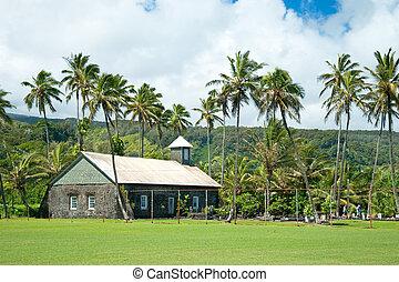 Old church at Hana on Hawaii Island Maui