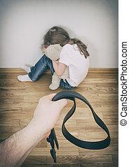 pequeno, menina, chorando, canto, Doméstico, violência,...