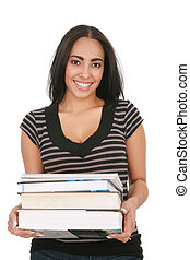 Casual Dressed Hispanic Female Student Holding Stack of...