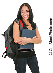 Happy Casual Dressed Hispanic Female Student Standing -...