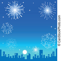 Fireworks over the Night City background
