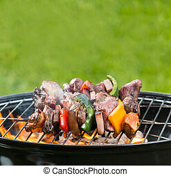 Grilled skewer on fire
